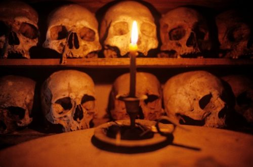 Skulls of monks, Mount Athos Greece, at Prophet Elias (Photo by Dave G. Houser)