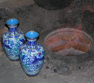 Cloisonne vases near Mutianyu, China (Photo by David G. Molyneaux, TheTravelMavens.com)