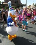 Donald at the Disney Main Street parade (Photo by David G. Molyneaux, TheTravelMavens.com)