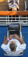 Using the computer on deck on the Carnival Splendor (Carnival Cruise Lines)