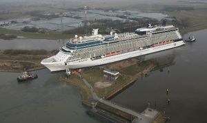Celebrity Eclipse moves backwards out of the Meyer Werft shipyard onto the river Ems, Germany March 11, 2010