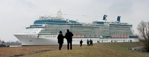 Celebrity Eclipse, moving backwards on the river Ems, Germany March 11, 2010