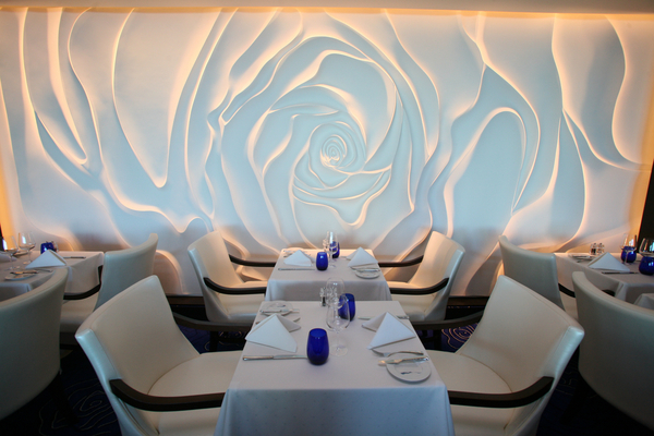 The rose wall in the restaurant Blu on Celebrity Equinox