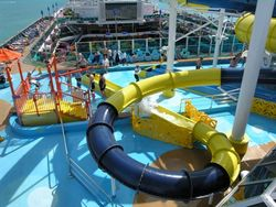 Water slides on deck of the Carnival Dream (Photo by David G. Molyneaux, TheTravelMavens.com)