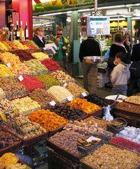 Dried fruit at La Boqueria Market, Barcelona, Spain (Photo by David G. Molyneaux, TheTravelMavens.com)