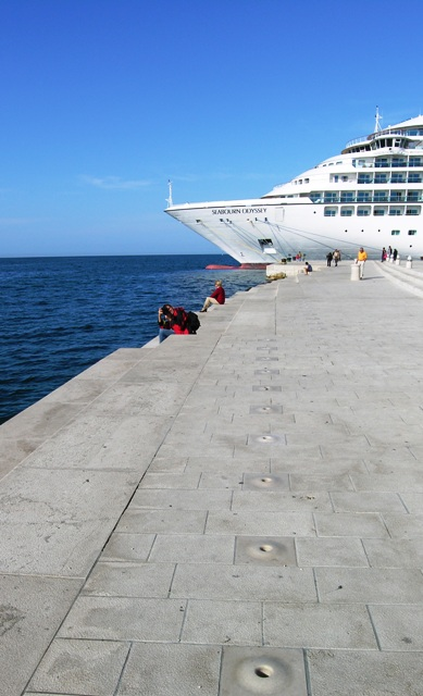 Sea organ at Zadar, Croatia, with Seabourn Odyssey at dock (Photo by David G. Molyneaux, TheTravelMavens.com)