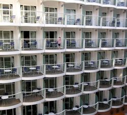 Outdoor balconies, interior cabins, Oasis of the Seas (Photo by David G. Molyneaux, TheTravelMavens.com)