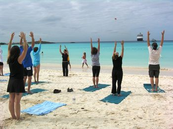 Tai chi on Half Moon Cay, Nieuw Amsterdam and parasailing off shore (Photo by David G. Molyneaux, TheTravelMavens.com)