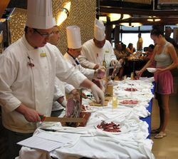 Carving ham on Costa Favolosa (Photo by David G. Molyneaux, TheTravelMavens.com)