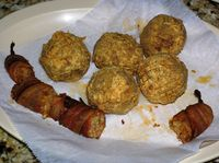 Boudin balls and smoked sausage wrapped in bacon at The Sausage Link in Sulpher, La. (Photo by David G. Molyneaux, TheTravelMavens.com)