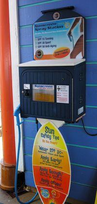 Sunscreen machine on Norwegian Dawn (Photo by David G. Molyneaux, TheTravelMavens.com)