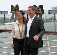 "Salma Hayek and Antonio Banderas, stars of ""Puss in Boots"" at the movie premier on Allure of the Seas in Fort Lauderdale (Photo by David G. Molyneaux, TheTravelMavens.com)"