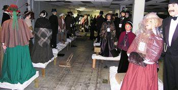 A warehouse of Dickens mannequins in Cambridge, Ohio (TheTravelMavens.com)