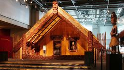 Maori meeting house at Te Papa in Wellington, New Zealand