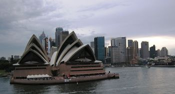 Sydney Opera House and the cruise ship dock, right, in Australia