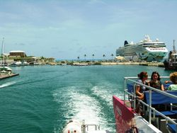 Passengers from Norwegian Dawn ride a ferry from Heritage Wharf in Bermuda toward Hamilton. (Photo by David G. Molyneaux, TheTravelMavens.com)
