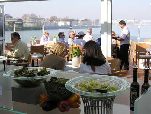 Aquavit Terrace, the new indoor/outdoor café on Viking Odin, is a popular alternative for lunch on a sunny day. (Photo by David G. Molyneaux, TheTravelMavens.com)