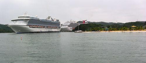 Ships docked at Mahogany Bay on the island of Roatan, Honduras (photo by David G. Molyneaux,TheTravelMavens.com)