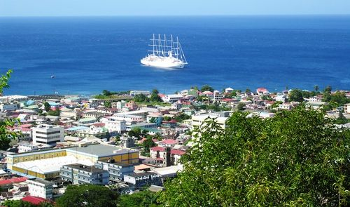 Roseau, Dominica, where Wind Surf is anchored (Photo by David G. Molyneaux, TheTravelMavens.com)
