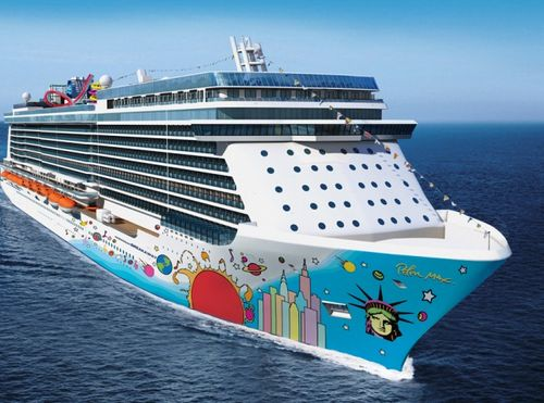 Norwegian Breakaway hull painted by Peter Max