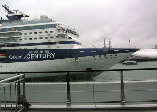 Celebrity Century docked in Auckland, New Zealand, beside the Hilton hotel (Photo by David G. Molyneaux, TheTravelMavens.com)