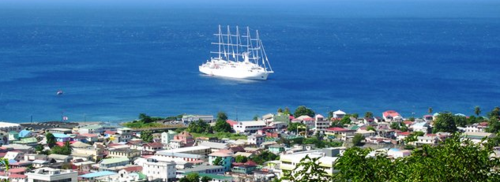 Wind Surf at anchor off Dominica in the Caribbean (Photo by David G. Molyneaux, TheTravelMavens.com)
