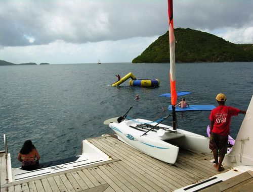 Wind Surf lowers its rear platform so passengers can play in the Caribbean (Photo by David G. Molyneaux, TheTravelMavens.com)