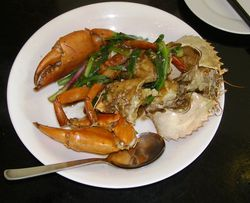 White pepper crab at No Signboard Seafood, Singapore (Photo by Fran Golden, TheTravelMavens.com)