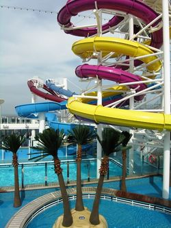 Five water slides curl on the decks of Norwegian Breakaway (Photos by David G. Molyneaux, TheTravelMavens.com)