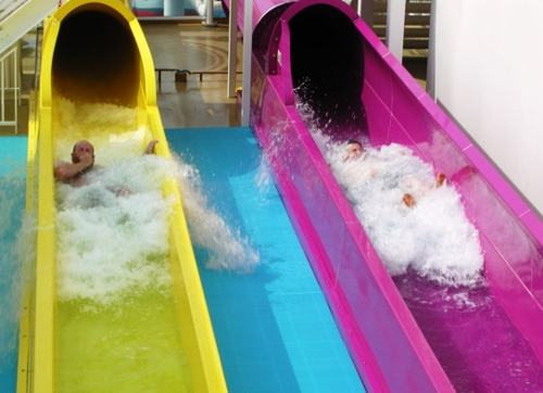 Two of five water slides on Norwegian Breakaway (Photo by David G. Molyneaux, TheTravelMavens.com)