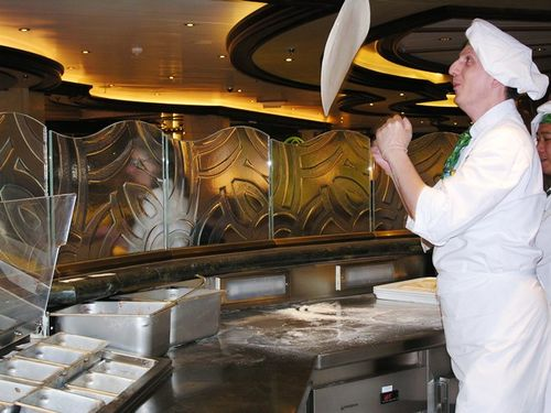 Making pizza at Alfredo's on Royal Princess (Photo by David G. Molyneaux, TheTravelMavens.com)