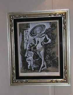 A racy print by Pablo Picasso, one of 16 of his works aboard Riviera, is tucked away at the entrance to the ladies room outside the Grand Dining room on Deck 6 (Photo by David G. Molyneaux, TheTravelMavens.com)
