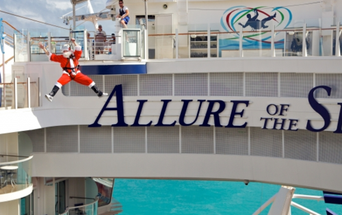 Ziplining on Allure of the Seas