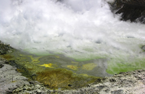 An island of gaseous steam and acid pools (Photo by David G. Molyneaux, TheTravelMavens.com)