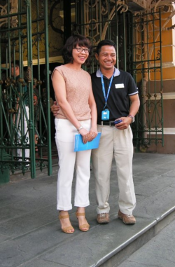 Avalon cruise director Phiem and his wife, Huyen, in Ho Chi Minh City (Photo by David G. Molyneaux, TheTravelMavens.com)
