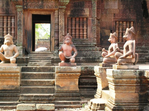 Angkor Banteay Srei temple, built of red sandstone and dedicated to the Hindu god Shiva (Photo by David G. Molyneaux, TheTravelMavens.com)