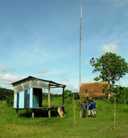 Amazon Village radio station under repair (Photo by David G. Molyneaux, TheTravelMavens.com)
