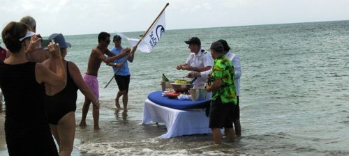 SeaDream's weekly champagne and caviar on the beach (Photo by David G. Molyneaux, TheTravelMavens.com)