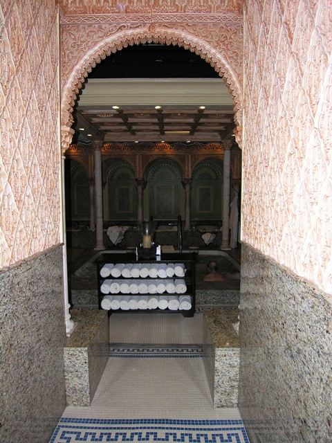 Entrance to the men's ritual bath at Spa Palazzo at Boca Raton Resort and Club, Florida (Photo by David G. Molyneaux, TheTravelMavens.com)