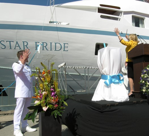 Godmother Nancy Anschutz christens the Star Pride in Barcelona (Photo by David G. Molyneaux, TheTravelMavens.com)