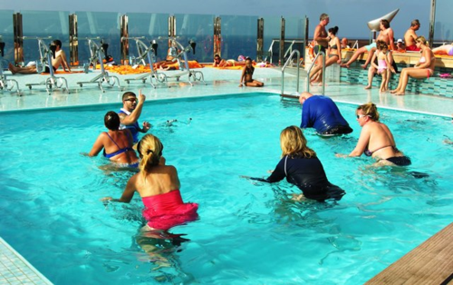 My stairway on MSC Divina led up to the aft end pool, for the afternoon exercise class on bicycles (Photo by David G. Molyneaux, TheTravelMavens.com)