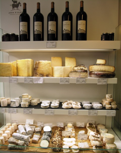 Cheeses and wines for sale in a shop in Bordeaux, France (Photo by David G. Molyneaux, TheTravelMavens.com)