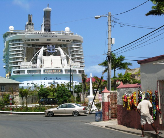 Oasis of the Seas, docked at Falmouth, Jamaica  (Photo by David G. Molyneaux, TheTravelMavens.com)