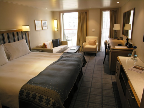 Viking Star cabins, all with private balconies, start at 270 square feet. This penthouse suite measures 338 square feet (Photo by David G. Molyneaux, TheTravelMavens.com)