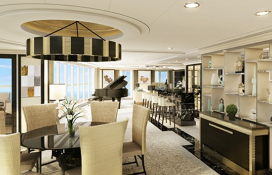Regent Suite on the Seven Seas Explorer, at $10,000 a day for two people (Photo by Regent Seven Seas Cruises)