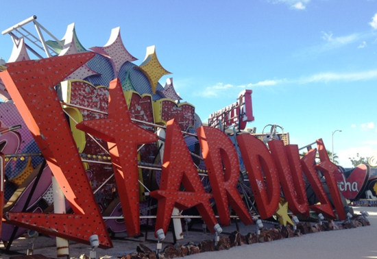Neon sign of the Stardust Resort and Casino, which opened on the Las Vegas Strip in 1958, closed in 2006. (Photo by David G. Molyneaux, TheTravelMavens.com)