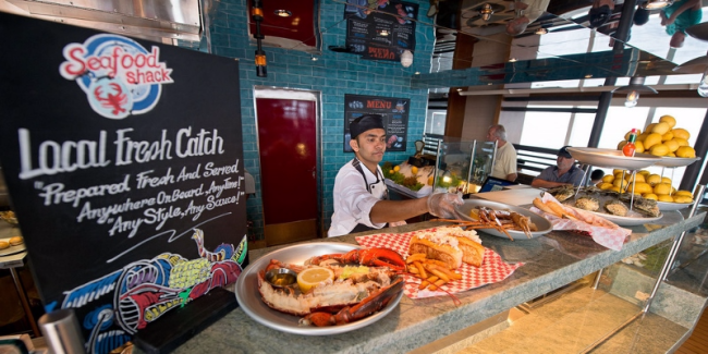 Stop at the Seafood shack on the pool deck of Carnival Vista for a snack, lunch or dinner, for a fee (Photos by Carnival Cruise Line)