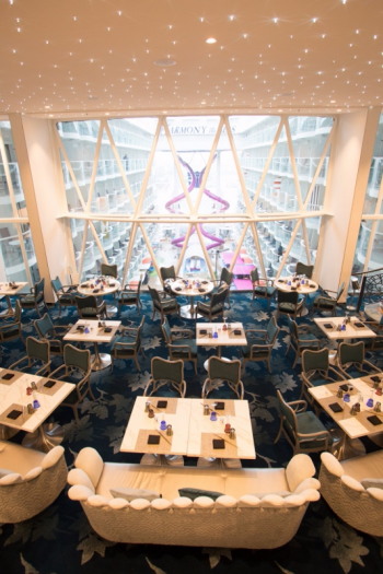 The restaurant Wonderland on Harmony of the Seas is double the size of its namesake on Quantum-class ships and features an attached bar with fanciful drinks.