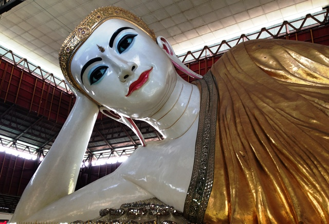 Reclining Buddha in Yangon, Myanmar, is 217 feet long (Photo by David G. Molyneaux, TheTravelMavens.com)