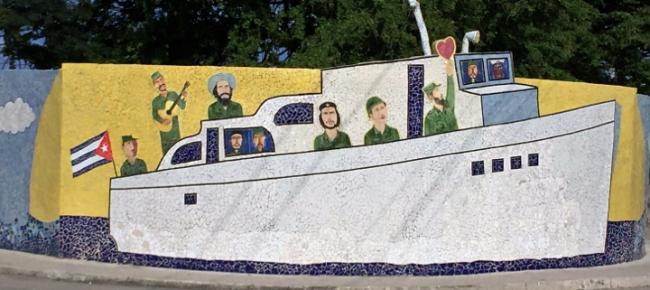 Mural of Granma, the boat that carried 82 fighters, including Fidel Castro, from Mexico to Cuba in November 1956 for the purpose of overthrowing the regime of Fulgencio Batista (Photo by David G. Molyneaux, TheTravelMavens.com)
